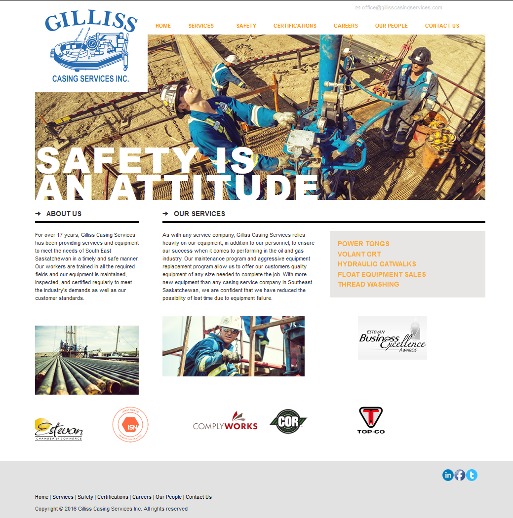 DMS Services Website Portfolio - Gilliss Casing Services