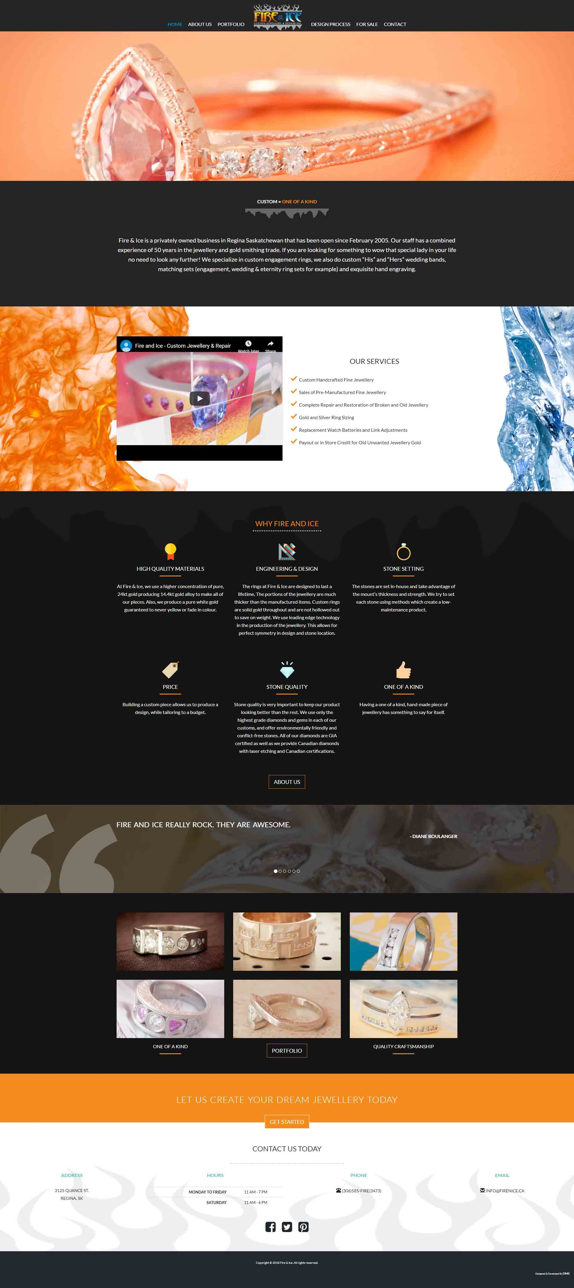 DMS Services Website Portfolio - Fire and Ice Custom Jewellery & Repair Inc.