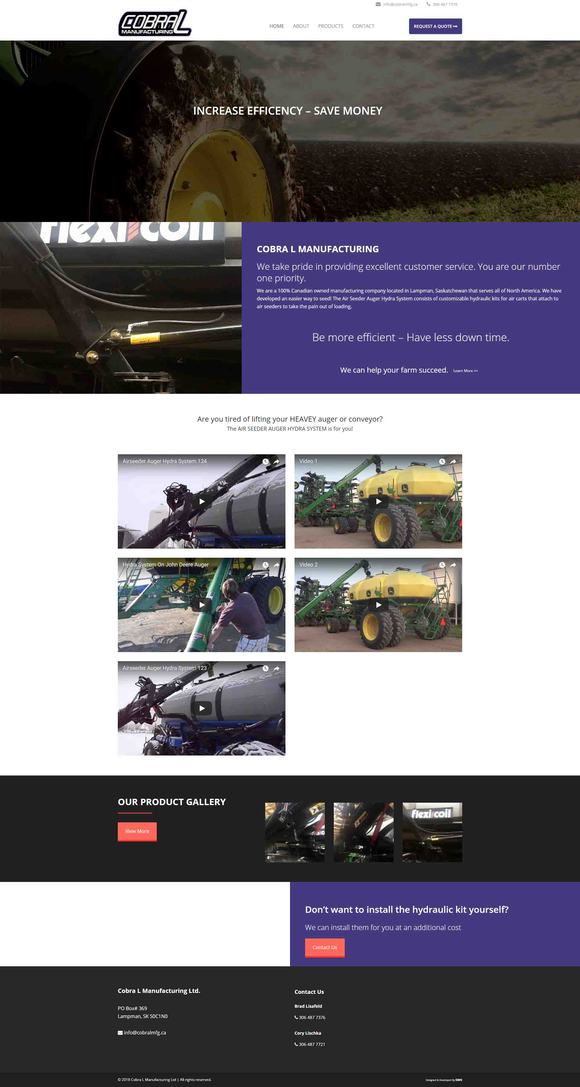 DMS Services Website Portfolio - Cobra L Manufacturing Ltd.