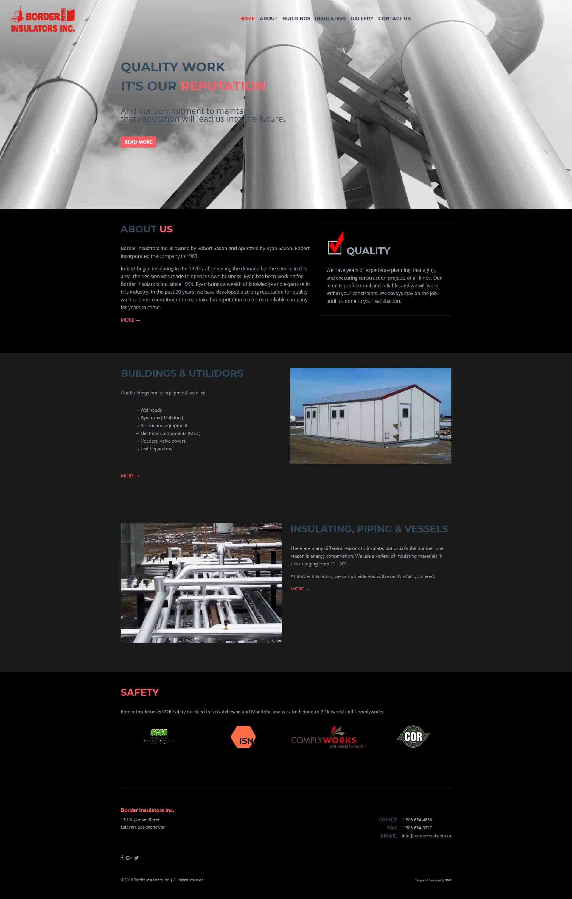 DMS Services Website Portfolio - Border Insulators Inc.