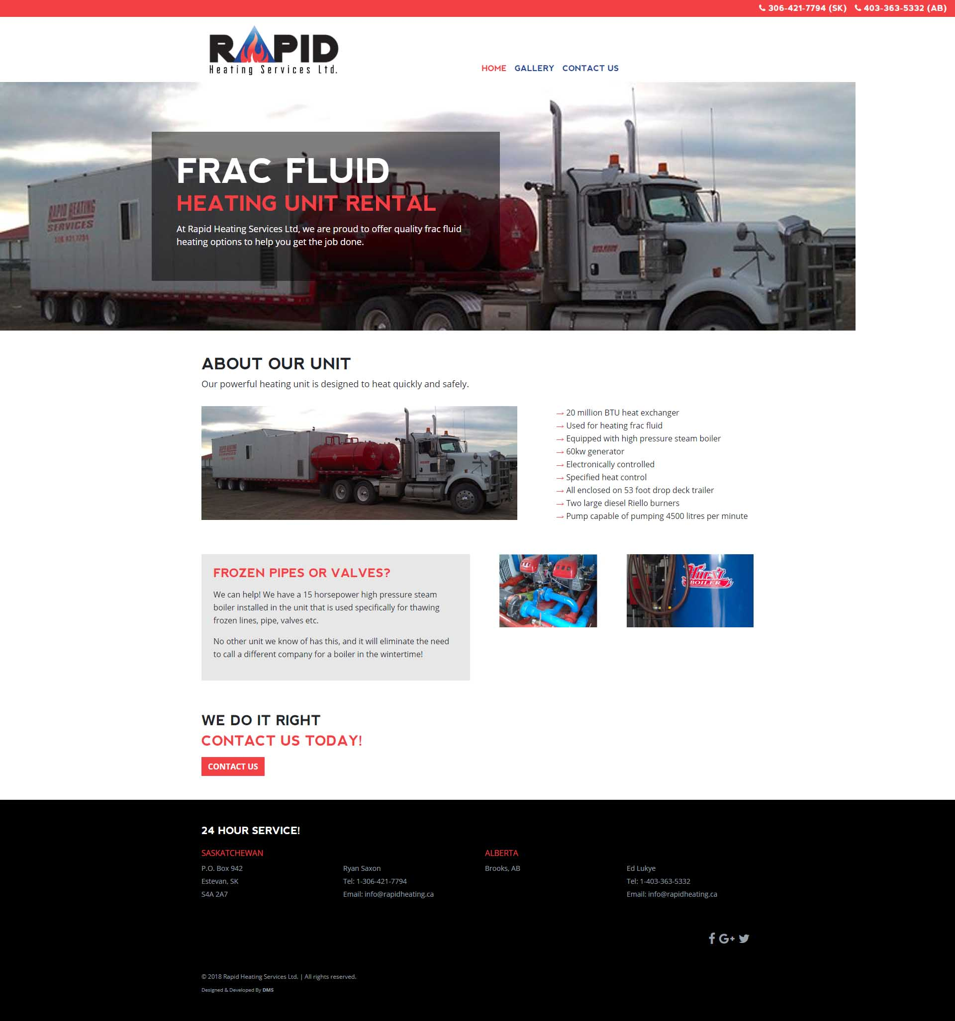 DMS Services Website Portfolio - Rapid Heating Services Ltd.