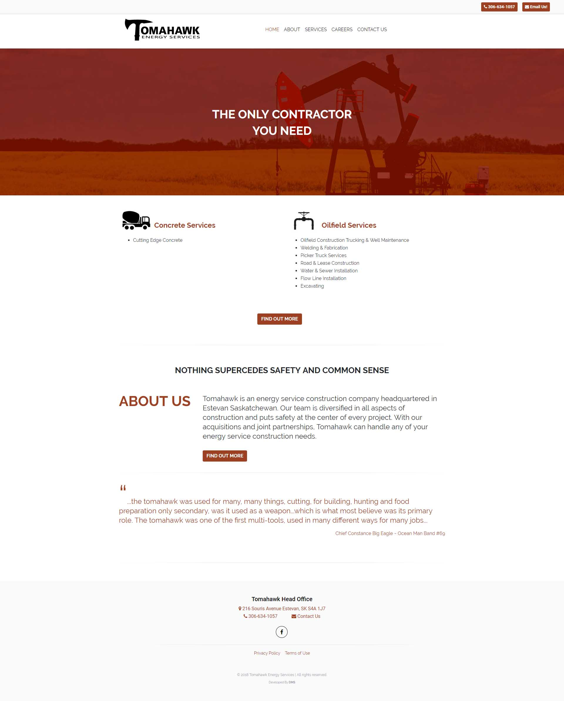 DMS Services Website Portfolio - Tomahawk Energy Services