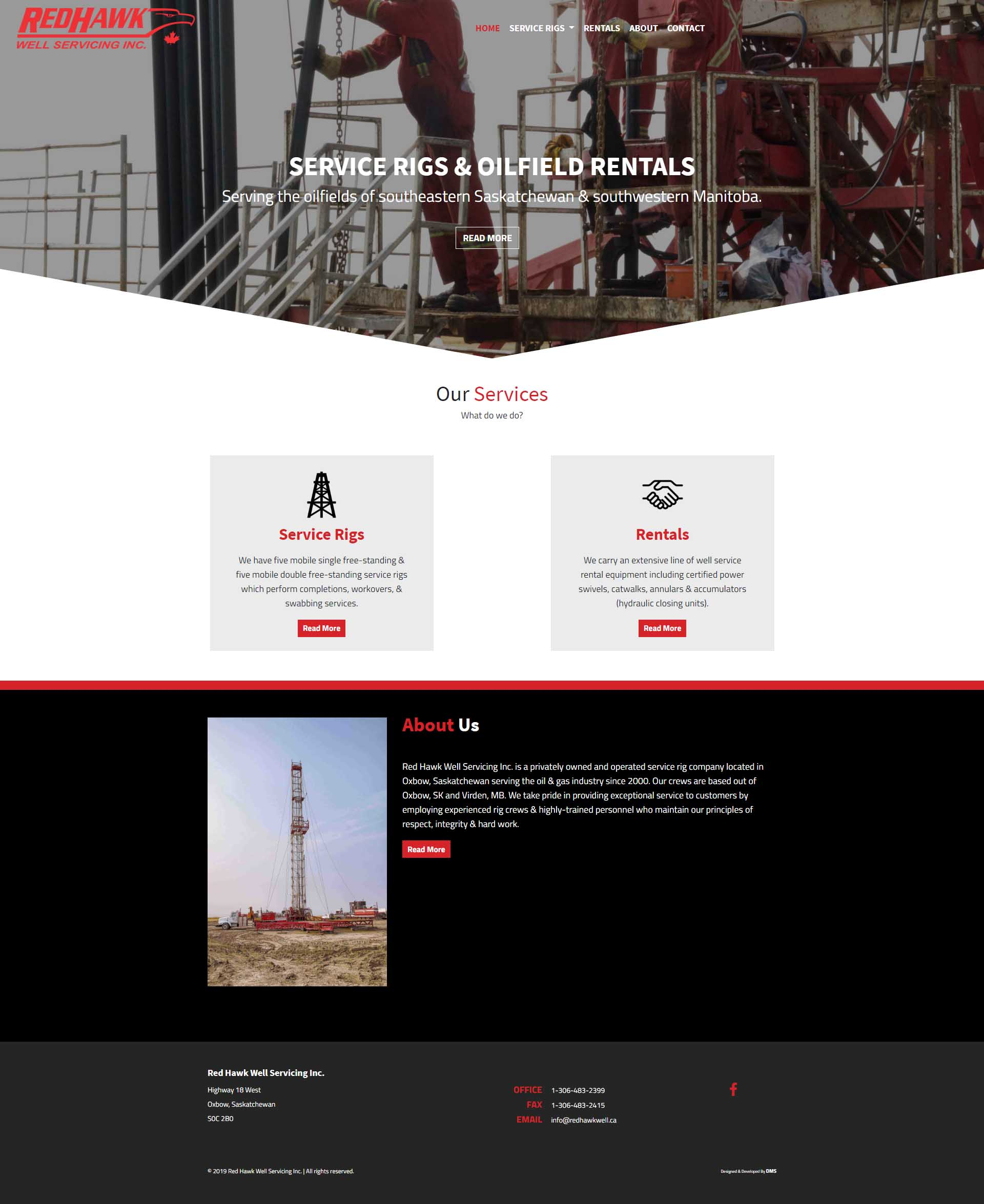 DMS Services Website Portfolio - Red Hawk Well Servicing