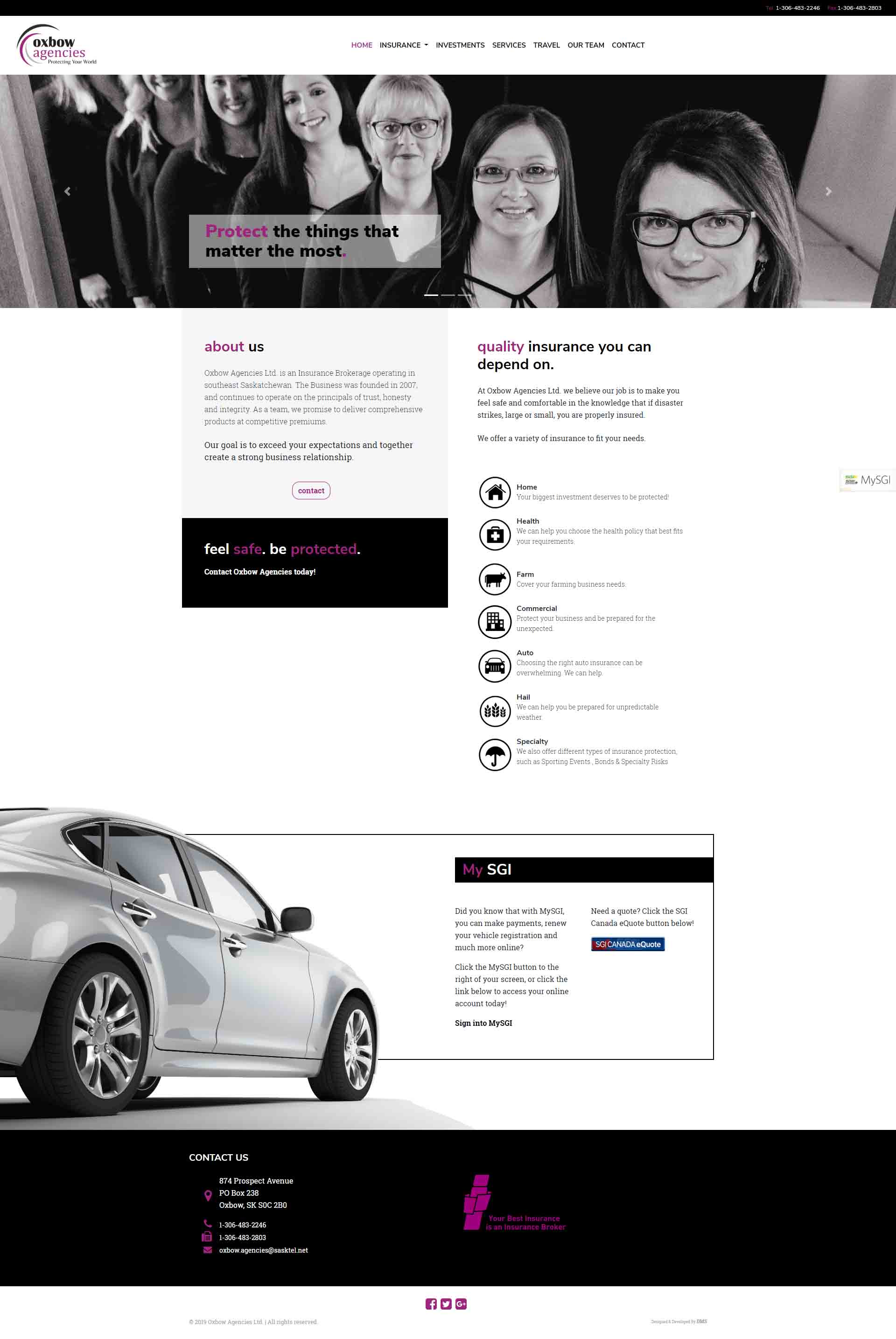 DMS Services Website Portfolio - Oxbow Agencies Ltd.