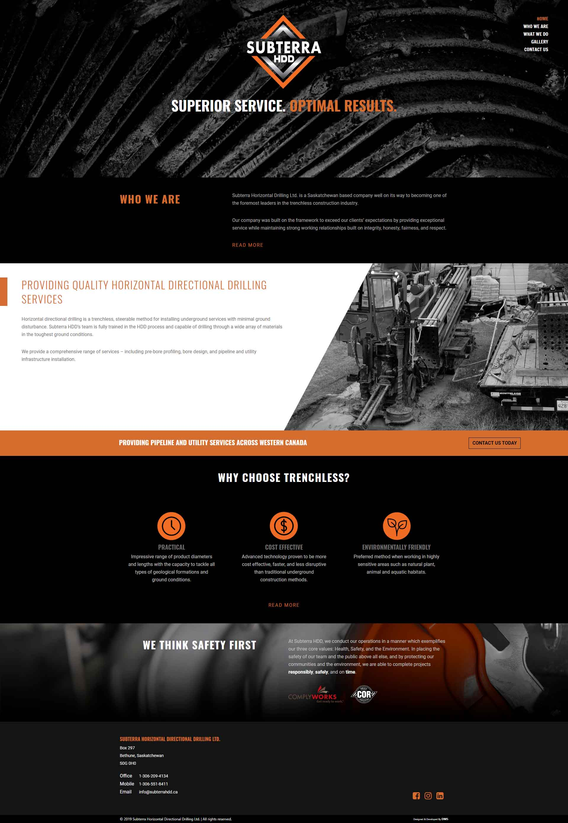 DMS Services Website Portfolio - Subterra Horizontal Directional Drilling Ltd.