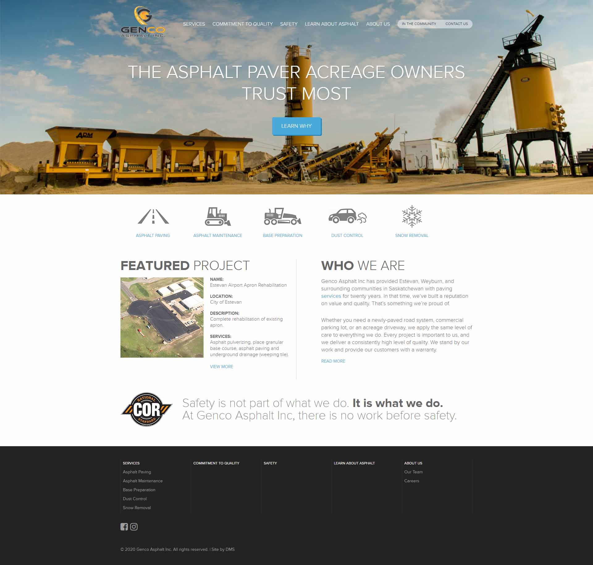 DMS Services Website Portfolio - Genco Asphalt Inc