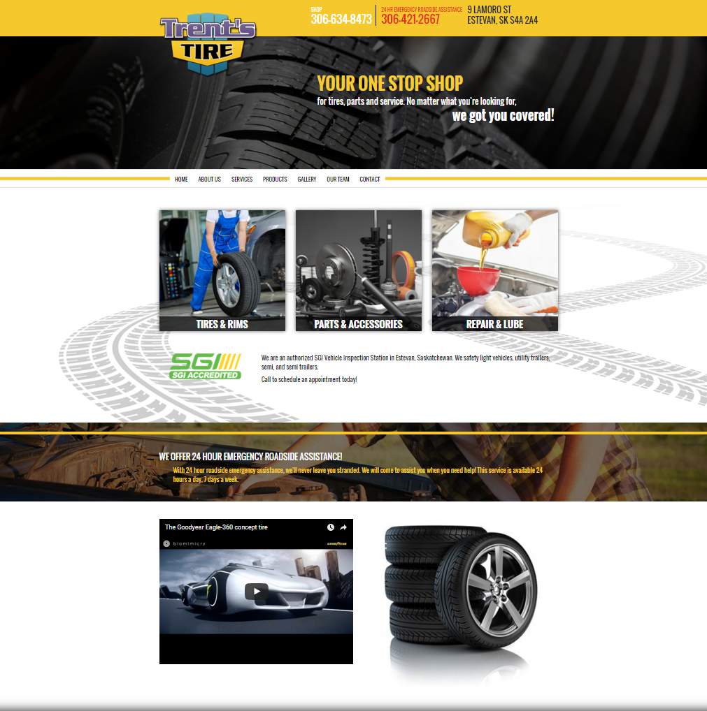 DMS Services Website Portfolio - Trent's Tire & Service