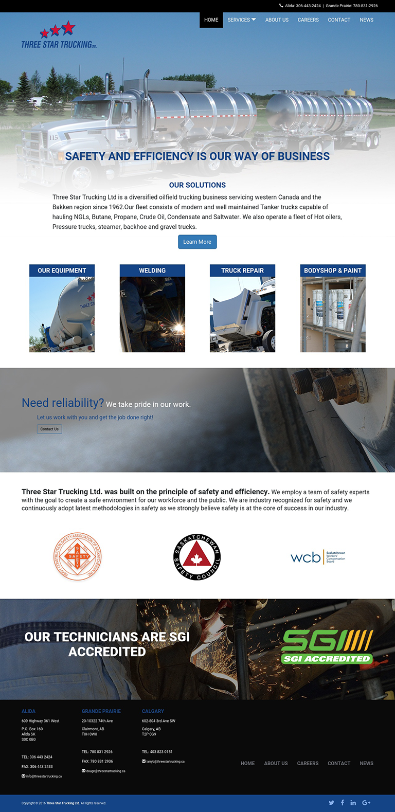 DMS Services Website Portfolio - Three Star Trucking